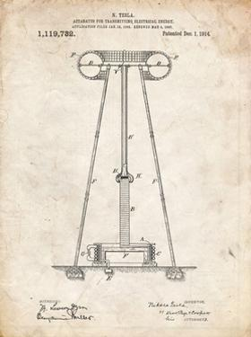 PP241-Vintage Parchment Tesla Energy Transmitter Patent Poster by Cole Borders
