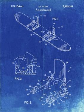 PP246-Faded Blueprint Burton Baseless Binding 1995 Snowboard Patent Poster by Cole Borders
