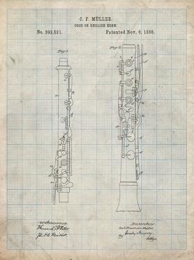 PP247-Antique Grid Parchment Oboe Patent Poster by Cole Borders