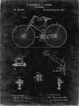 PP248-Black Grunge Bicycle 1890 Patent Poster by Cole Borders