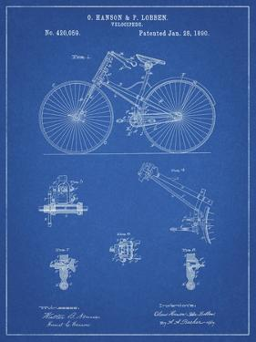 PP248-Blueprint Bicycle 1890 Patent Poster by Cole Borders