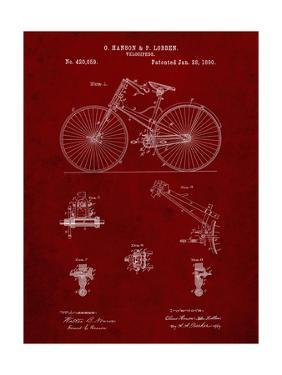 PP248-Burgundy Bicycle 1890 Patent Poster by Cole Borders