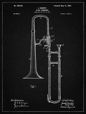 PP261-Vintage Black Slide Trombone Patent Poster