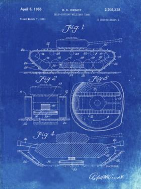 PP262-Faded Blueprint Military Self Digging Tank Patent Poster by Cole Borders