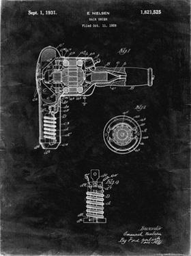 PP265-Black Grunge Vintage Hair Dryer Patent Poster by Cole Borders