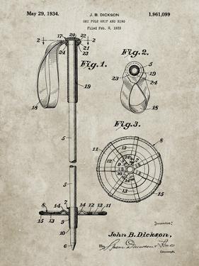 PP270-Sandstone Vintage Ski Pole Patent Poster by Cole Borders