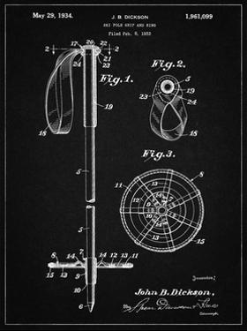 PP270-Vintage Black Vintage Ski Pole Patent Poster by Cole Borders