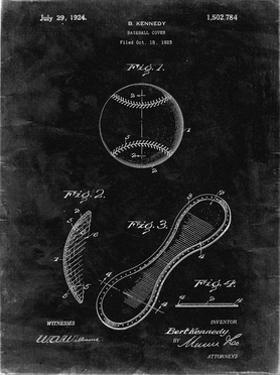 PP271-Black Grunge Vintage Baseball 1924 Patent Poster by Cole Borders