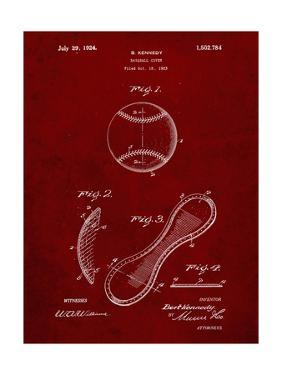 PP271-Burgundy Vintage Baseball 1924 Patent Poster by Cole Borders