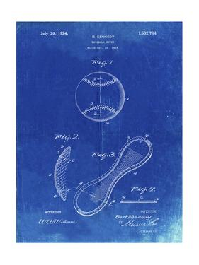 PP271-Faded Blueprint Vintage Baseball 1924 Patent Poster by Cole Borders