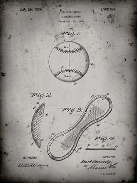 PP271-Faded Grey Vintage Baseball 1924 Patent Poster by Cole Borders