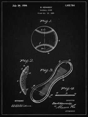 PP271-Vintage Black Vintage Baseball 1924 Patent Poster by Cole Borders