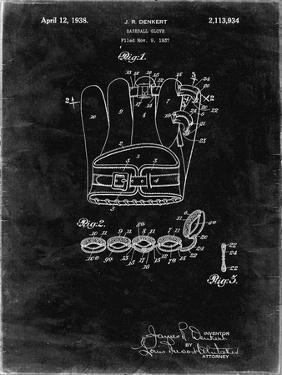 PP272-Black Grunge Denkert Baseball Glove Patent Poster by Cole Borders