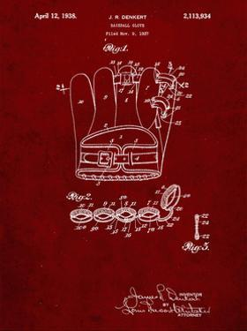 PP272-Burgundy Denkert Baseball Glove Patent Poster by Cole Borders