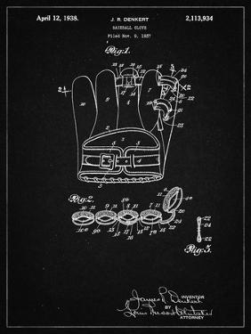 PP272-Vintage Black Denkert Baseball Glove Patent Poster by Cole Borders