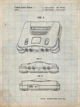 PP276-Antique Grid Parchment Nintendo 64 Patent Poster by Cole Borders