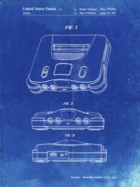 PP276-Faded Blueprint Nintendo 64 Patent Poster by Cole Borders