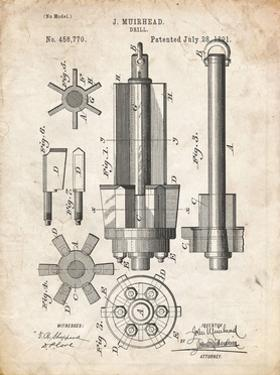 PP280-Vintage Parchment Mining Drill Tool 1891 Patent Poster by Cole Borders