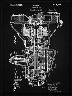 PP289-Vintage Black Henry Ford Transmission Patent Poster by Cole Borders