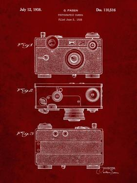 PP299-Burgundy Argus C Camera Patent Poster by Cole Borders