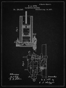 PP304-Vintage Black Combustible 4 Cycle Engine Otto 1877 Patent Poster by Cole Borders