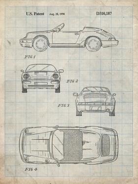 PP305-Antique Grid Parchment Porsche 911 Carrera Patent Poster by Cole Borders