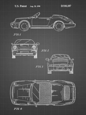 PP305-Black Grid Porsche 911 Carrera Patent Poster by Cole Borders