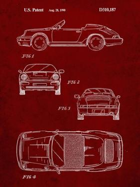 PP305-Burgundy Porsche 911 Carrera Patent Poster by Cole Borders