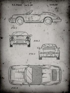 PP305-Faded Grey Porsche 911 Carrera Patent Poster by Cole Borders