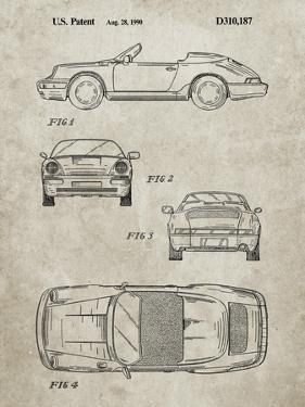 PP305-Sandstone Porsche 911 Carrera Patent Poster by Cole Borders