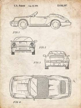 PP305-Vintage Parchment Porsche 911 Carrera Patent Poster by Cole Borders