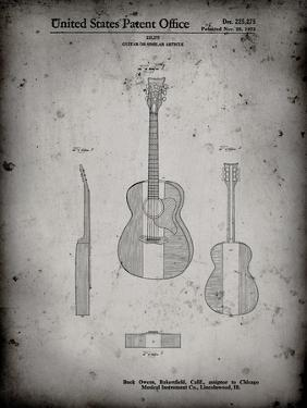 PP306-Faded Grey Buck Owens American Guitar Patent Poster by Cole Borders