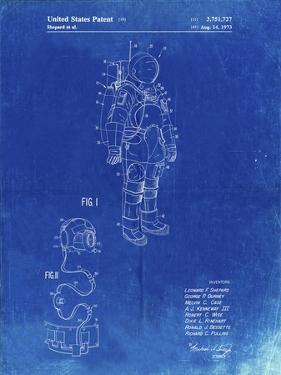 PP309-Faded Blueprint Apollo Space Suit Patent Poster by Cole Borders