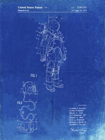 PP309-Faded Blueprint Apollo Space Suit Patent Poster