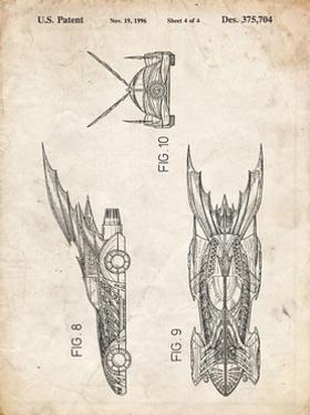 PP311-Vintage Parchment Batman and Robin Batmobile Patent Poster by Cole Borders