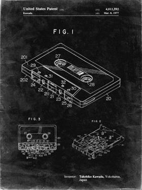 PP319-Black Grunge Cassette Tape Patent Poster by Cole Borders