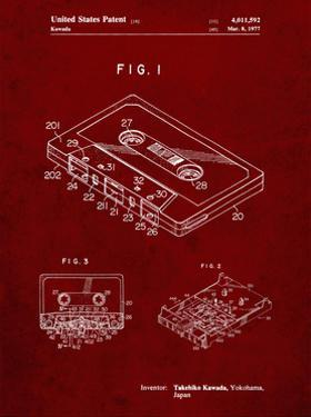 PP319-Burgundy Cassette Tape Patent Poster by Cole Borders