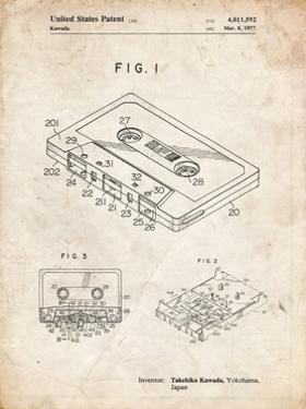 PP319-Vintage Parchment Cassette Tape Patent Poster by Cole Borders