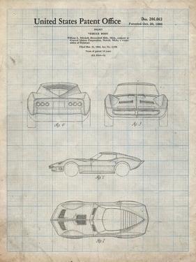 PP339-Antique Grid Parchment 1966 Corvette Mako Shark II Patent Poster by Cole Borders