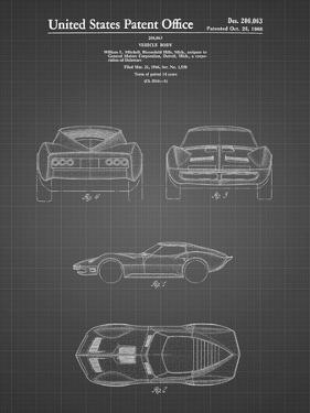 PP339-Black Grid 1966 Corvette Mako Shark II Patent Poster by Cole Borders