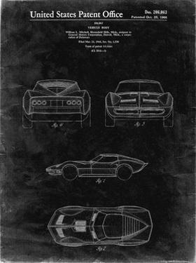 PP339-Black Grunge 1966 Corvette Mako Shark II Patent Poster by Cole Borders