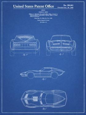 PP339-Blueprint 1966 Corvette Mako Shark II Patent Poster by Cole Borders