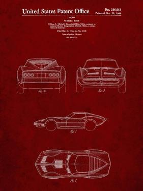 PP339-Burgundy 1966 Corvette Mako Shark II Patent Poster by Cole Borders