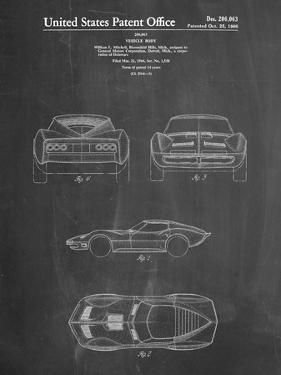 PP339-Chalkboard 1966 Corvette Mako Shark II Patent Poster by Cole Borders