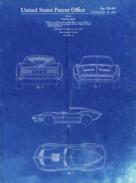 PP339-Faded Blueprint 1966 Corvette Mako Shark II Patent Poster by Cole Borders