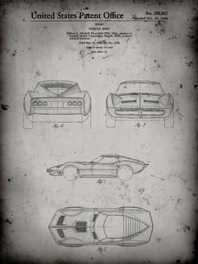 PP339-Faded Grey 1966 Corvette Mako Shark II Patent Poster by Cole Borders