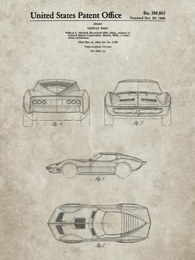 PP339-Sandstone 1966 Corvette Mako Shark II Patent Poster by Cole Borders