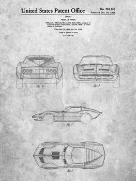 PP339-Slate 1966 Corvette Mako Shark II Patent Poster by Cole Borders