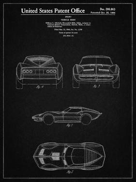 PP339-Vintage Black 1966 Corvette Mako Shark II Patent Poster by Cole Borders