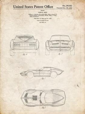PP339-Vintage Parchment 1966 Corvette Mako Shark II Patent Poster by Cole Borders